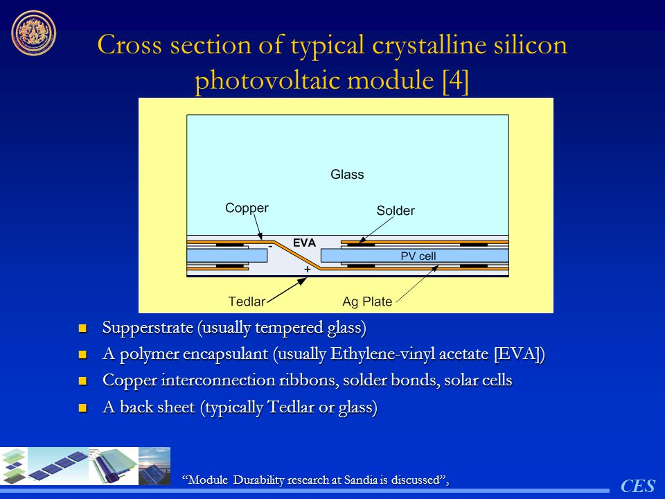 Cross section of typical crystalline silicon photovoltaic module [4]